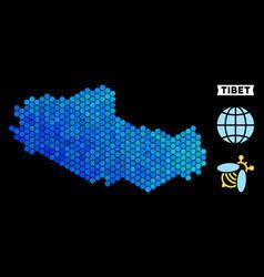 Blue hexagon tibet chinese territory map vector