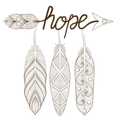 Bohemian arrow hand drawn amulet letters hope vector
