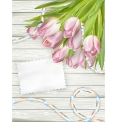 Bouquet of tulips with an empty card EPS 10 vector image