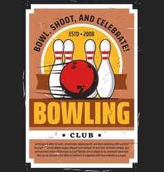 bowling ball and pins on lane sport game club vector image