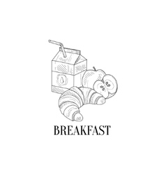 Breakfast With Milk Croissant And Apple Hand vector