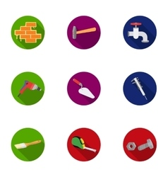 Build and repair set icons in flat style Big vector image
