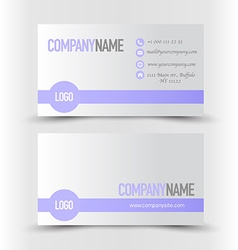 Business card set template purple and silver grey vector