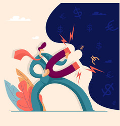 businessman attracts money with a magnet vector image