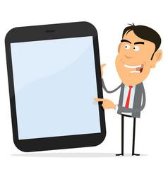 businessman showing tablet pc vector image