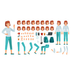 cartoon female character kit city in casual vector image
