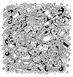 cartoon line art funny doodles cinema vector image