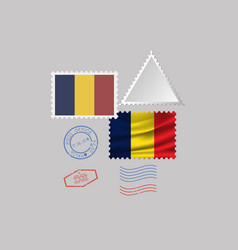 Chad flag postage stamp set isolated on gray vector
