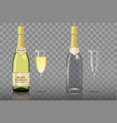 champagne bottle with wine glass mockup set vector image