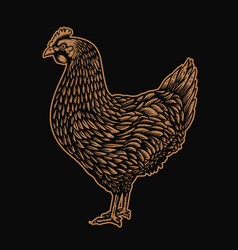 chicken in engraving style design element for vector image