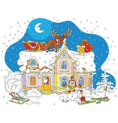 Christmas sledge of santa on a roof vector