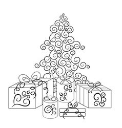 Christmas tree and boxes with gifts in monochrome vector image