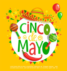 cinco de mayo lettering on holiday background vector image