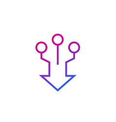 Consolidation merge line icon vector