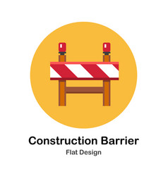 Construction barrier flat icon vector