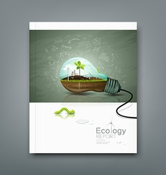 Cover annual report light bulb ecology concept vector