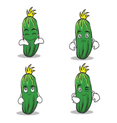 Cucumber character cartoon collection set vector