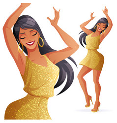 Dancing woman in gold vector
