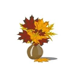Decorative bouquet of autumn leaves vector