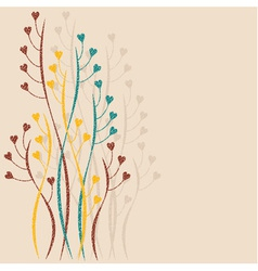 Decorative branches with hearts vector image
