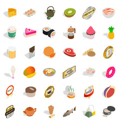 Dietary icons set isometric style vector