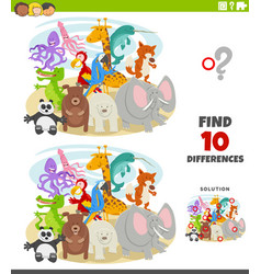 Differences educational game with wild animal vector