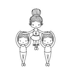 Dotted shape group dancing ballet with vector