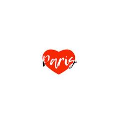 european capital city paris love heart text logo vector image