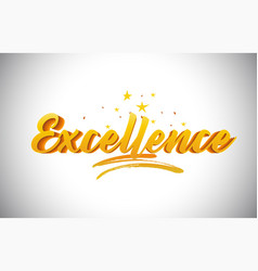 Excellence golden yellow word text with vector
