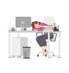 Exhausted female office worker manager or clerk vector