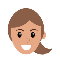 face woman head cartoon vector image