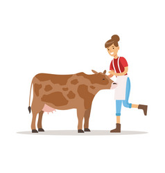 farmer woman caring for her cow farming and vector image