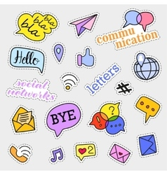 Fashion patch badges Social networks set vector
