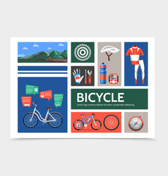 Flat bicycle infographic concept vector