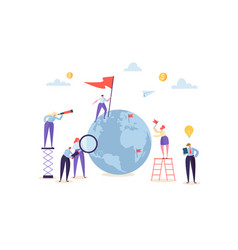 global business concept with characters working vector image