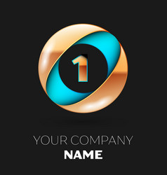 golden number one logo in blue-golden circle vector image