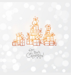greeting card with gold christmas gift boxes vector image