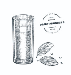 hand drawn sketch style glass milk organic vector image
