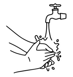 hand drawn washing hands doodle isolated on vector image