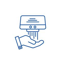 Hand dryer line icon concept hand dryer flat vector