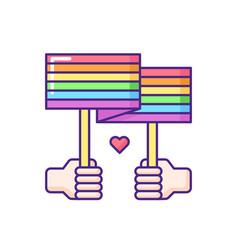 Hands holding pride parade placard rgb color icon vector