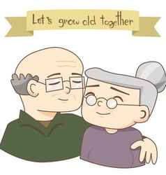Happy Grandparents Day Old Couples Love vector