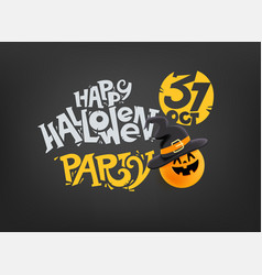 happy halloween party banner with inscription vector image