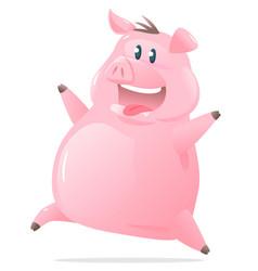 happy jumping pig cartoon vector image