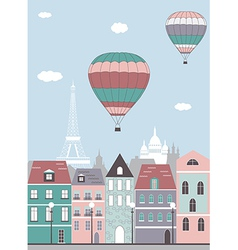 Hot air balloon over the Paris vector