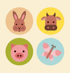 Icons set farm animal vector