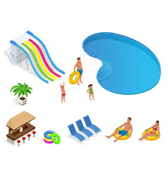 isometric set icons summer water park holiday vector image