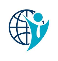 Job recruitment logo global abstract businessman vector