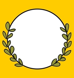 Laurel wreath photo frame on yellow background vector