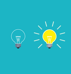 light bulb on and off mode in flat style vector image